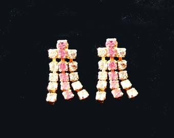 Pink Rhinestone Earrings Dangle Screw Back Style Retro Vintage