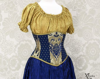 """Steampunk Renaissance Blue & Gold Steel Boned Waspie Corset w/Solid Front -- Corset Size 36, Fits Waist 39""""-41"""" -- Ready to Ship"""