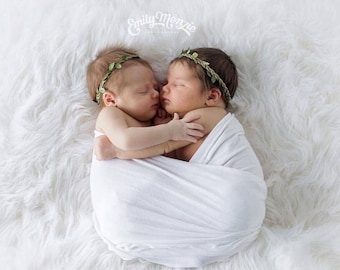 Braided leather halo with inter-woven green leaves for newborns to adult, by Lil Miss Sweet Pea