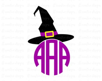 Witch Hat Monogram SVG, Witch Hat SVG, Halloween SVG, Silhouette Cutting Files, Cricut Cut Files