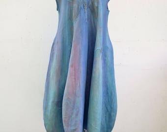 blue linen bauble ballon dress L plus size unique fashion design hemp flax natural eco wearable art to wear, artsy, woman B1