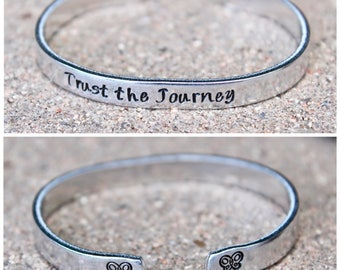 Inspirational Bracelet, Trust the Journey, Mantra Cuff Butterfly Mantra, Motivational Bangle, Inspirational Bangle, Trust the Journey