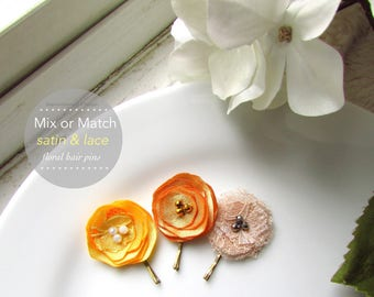 "3 Tiny Satin Hair Pin Silk Flowers, Golden Yellow Bridal Fall Flower Girl Floral Clip, Autumn Marigold, Champagne hair 1"", Lace, Pearl Bobby"