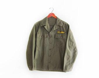 vintage army jacket / Korean War jacket / US Army Combat Shirt / 1950s US Army Korean War HBT shirt Small