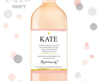 Will you be my bridesmaid wine labels, bridesmaid wine labels, thank you bridesmaid labels, bridesmaid gift - style 209 LOVELY LITTLE PARTY