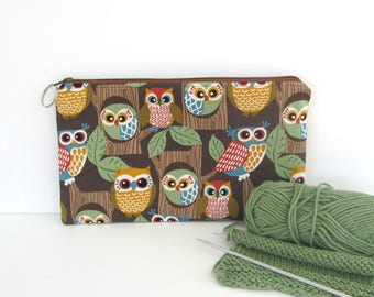 Zipper owls notions case, notions pouch, large cosmetic bag, pencil case, Socks project bag or Dishcloth crochet bag, zipper pouch