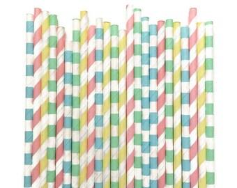 24 Pastel Paper Straws // Pastel Straws // Paper Straws // Easter Paper Straws // Pastel Drinkware // Easter Straws // Pastel Party Decor