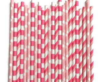24 Assorted Pink Paper Straws // Pink Straws // Paper Straws // Light Pink Paper Straws // Girl Birthday Decor // Light Pink Straws