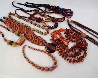 FREE Shipping Vintage Lot of 9 Wood Beaded Necklaces Wooden Carved Ducks MOD abstract 70s Graduated Multi strand Show Piece Big Bulky