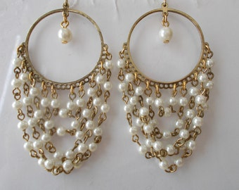 Gold Tone Hoop Earrings with White Sea Shell Pearl Chain Dangles