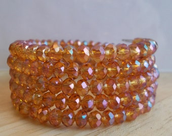 5 Row Orange/Gold Colored Crystal Memory Wire Cuff Bracelet