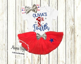 First Fourth of July, Personalized Baby Girl Clothes, 4th of July Outfit, Patriotic Baby Clothing,  Independence Day Baby -SHIRT ONLY