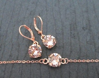 Rose Gold Swarovski Crystal Bridesmaid Set/Rose Gold Junior Bridesmaid Jewelry/Rose Gold Flower Girl Jewelry/Rose Gold Bracelet