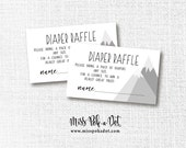 Adventure Mountain Baby Shower Diaper Raffle, Printable, Ticket, Card, Insert, Instant Download, Neutral, Grey, Gray, White, Black