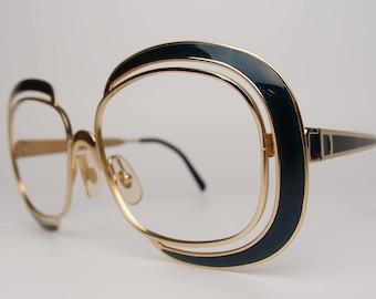 Vtg Christian Dior 1208 Designer Eyeglasses Sunglasses Frames Rectangular Square 55 16 135 Austria Gold Metal Green Enamel Inlay Unique 70's