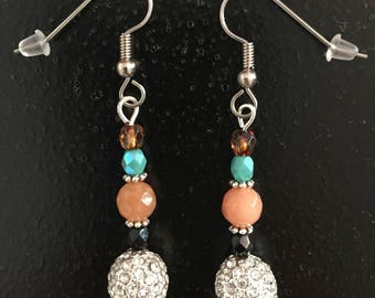 Peach Faceted Quartz Beads With Sparkly Pave Crystal Beads, and Fire Polished Czech Beads Drop Earrings.