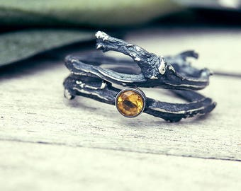 Citrine ring, Twig ring, elvish ring, stacking rings set, promise ring, branch ring, elf ring, elvish engagement ring, engagement ring