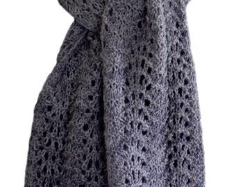 Hand Knit Scarf - Denim Blue Grey Feather & Fan Alpaca Wool Bamboo