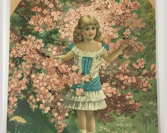 Victorian print young girl in lace dress, Blue and white lace, Blonde ringlets, Tree in bloom, Pink blossom, rosy cheeked Victorian girl