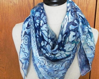 Large square floral Devore satin silk scarf hand dyed in shades of blue is ready to ship, silk scarf #543