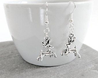 Reindeer Earrings, Reindeer Jewellery, Reindeer Charm Jewellery, Reindeer Jewelry Christmas Earrings, Christmas Jewellery, Christmas Jewelry