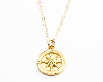 Hokule'a necklace-gold compass necklace,gold necklace,nautical star necklace, gold charm necklace,boho necklace,compass rose necklace,hawaii