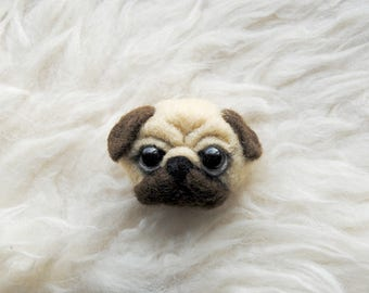 Pug Brooch, Needle Felted Dog Pin, Cute Pug Gift