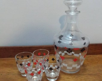 Vintage Retro Decanter & shot glass set - Playing card design - Poker!
