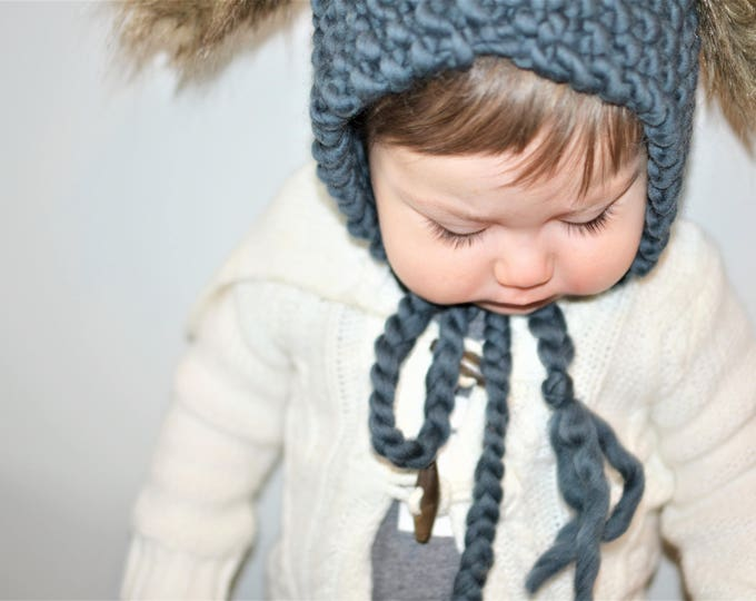 Knit Baby Bonnet With Bunny Ears| Knitted Baby Bonnet | Bunny Eared Baby Bonnet | Dusty Blue Baby Bonnet