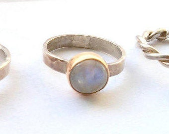 Silver Moonstone Ring - Natural Stone Ring - Moonstone Gemstone Ring - Ring for Women - 14k Gold and Silver Stacking Rings - Mix Metal Ring