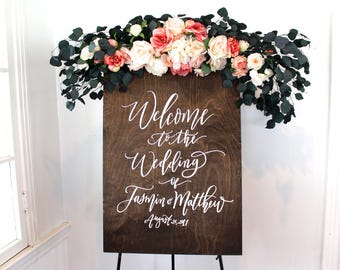 Custom Wedding Welcome Sign, Wooden Wedding Sign, Ceremony Decor, Personalized Wedding Signs, Mulberry Market Designs
