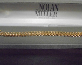 Nolan Miller Woven Bracelet in Gold Tone with Crystal Accents - S2330
