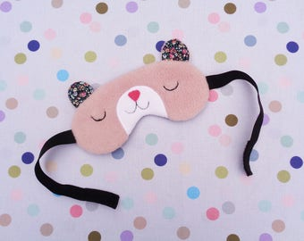 Pink Bear Sleep Mask, Travel Eye Mask, Fleece Eye Mask, Relaxing Eyewear, Sleep Aid, Travel Gift