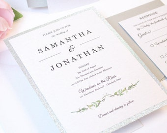 Rustic Wedding Invitation, Glitter, Romantic, Silver, Greenery, Calligraphy, Simple, Pretty, Laurel Leaves Design, Sample