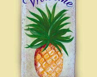 Pineapple welcome sign, Wall hanging sign, Hand painted, Personalized sign, House number plaque, Door sign