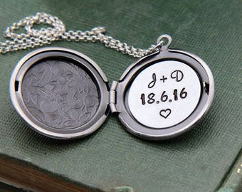 Locket Necklace, Personalized Locket, Initial Locket Necklace, Personalized Necklace, Monogram Necklace, Date Necklace, Anniversary Necklace