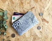 Scatter Print Coin Purse in Pale Blue // Spotted Coin Pouch Patterned Screen Printed Zipper Pouch