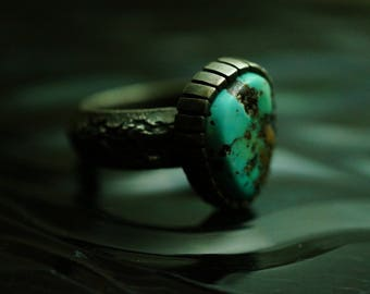 Nevada Blue Turquoise sterling silver RING, Nevada Blue Mine