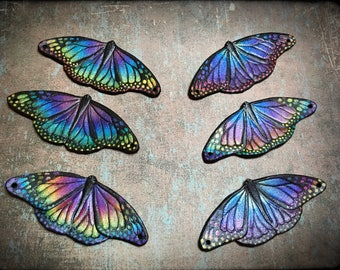Rainbow monarch butterfly beading supply - Hand tooled leather butterfly detail for DIY projects - handmade supplies for DIY jewelry