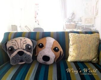 Dog cushion, Pug Beagle pillow, Dog pillow, Felt machine embroidered, Gift for dog lover, Decorative Throw Cushion, Dog Toy, Felt Dog Pillow