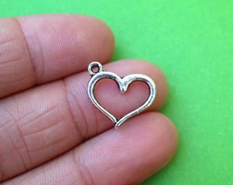 8 Silver Open Heart Charms (CH238)