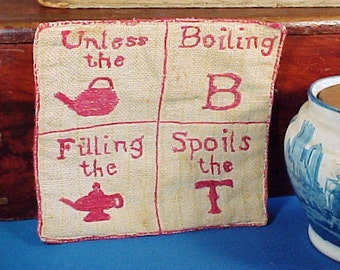 Antique Homespun Potholder, Turkey Red Embroidery, Antique Textile, Pot Holder, Hot Pad, Primitive