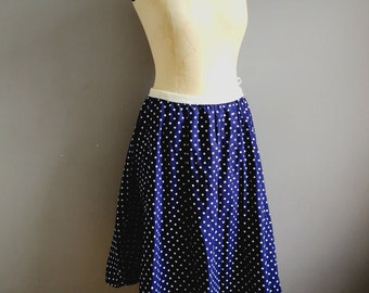 Polka dot swing skirt / 50s style spotty cirlce skirt / 80s does 50s / 50s rock and roll / purple and white spotty 50a skirt / medium /