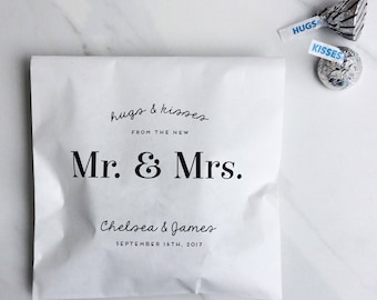 50 Candy Bags - Hugs and Kisses from the new Mr. & Mrs. - Kraft Wedding Favour Paper Bags