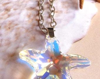 Crystal Starfish Necklace! Swarovski Starfish Pendant