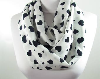 Heart Scarf Infinity Scarf White Circle Scarf Winter Accessory Romantic Valentines Gift For Her For Women For Wife 36