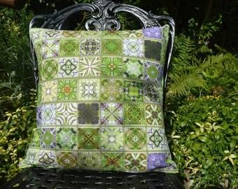 "Handmade 16""x16"" Cotton Cushion Pillow Cover in Vibrant Green/Purple/Brown Mosiac Tile Effect Watercolour Design Print"