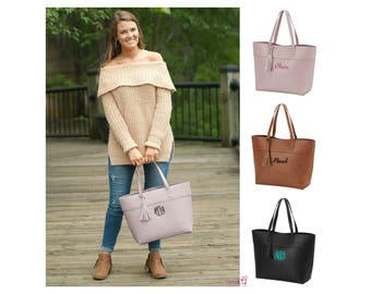 Monogrammed Vegan Leather Bag Monogrammed Handbag Large Personalized Purse Monogram Tote Bag Gold Rose Pink Blush Camel Brown Black Tan