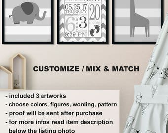 monochrome baby room decor elephant giraffe gray nursery decor safari nursery birth wall