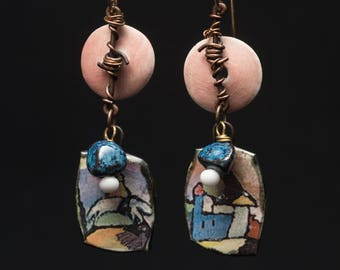 "Once Upon a Time, colorful dangles of ceramic and copper ""barbed wire.""  Fairytale village vistas under pale pink moons, boho assemblage"